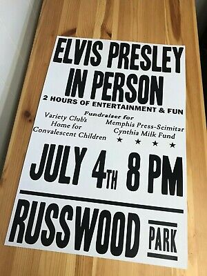 Concert Poster from 1956 Elvis Presley at  Russwood Park Memphis TN