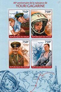 Cosomonaut Gagarine Premier Homme Dans L'espace Timbre Feuille (2014 Niger)-afficher Le Titre D'origine