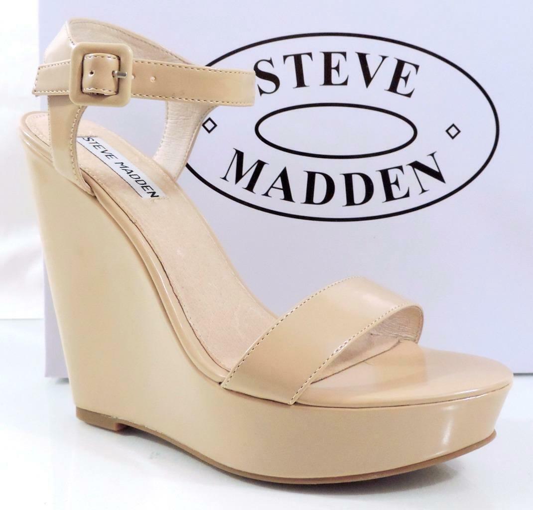 damen Steve Madden Prestine Platform Wedge heels Sandals Natural Patent Größe 10