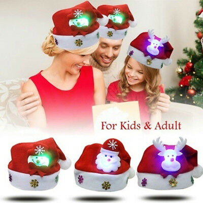 Adults Kids LED Light Christmas Hat Santa Claus Snowman Elk Party Gifts Xmas Cap