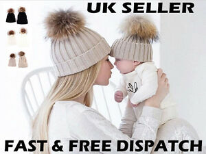 592101d81f522 Mum and Baby Matching Knitted Hat Warm Winter Kid Beanie Wool Skully ...