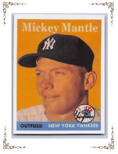 1958-MICKEY-MANTLE-Topps-034-REPRINT-034-Baseball-Card-150-NEW-YORK-YANKEES