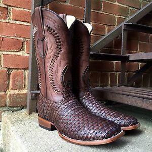 Corral Men S Exotic Braided Lizard Print Brown Square Toe