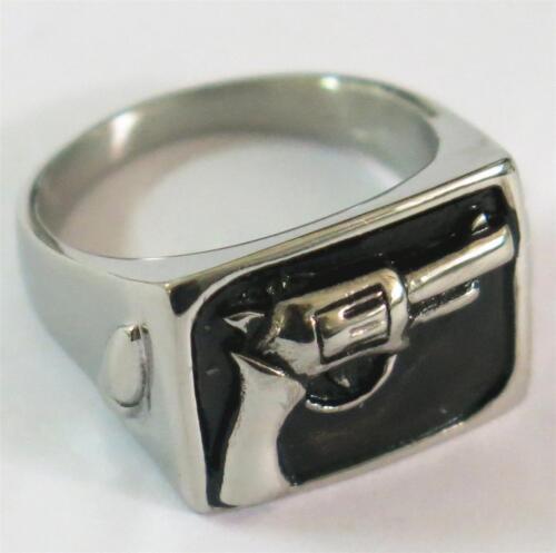 HAND PISTOL GUN STAINLESS STEEL RING size 9 silver metal S-507 2nd amendment