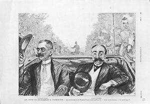 Comte-de-Rochambeau-amp-Lahune-de-Lafayette-La-Fayette-Washington-USA-GRAVURE-1902