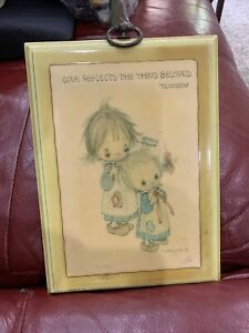 """Vtg """"Love Reflects The Thing Beloved"""" Tennyson Wood Plaque Betsey Clark"""