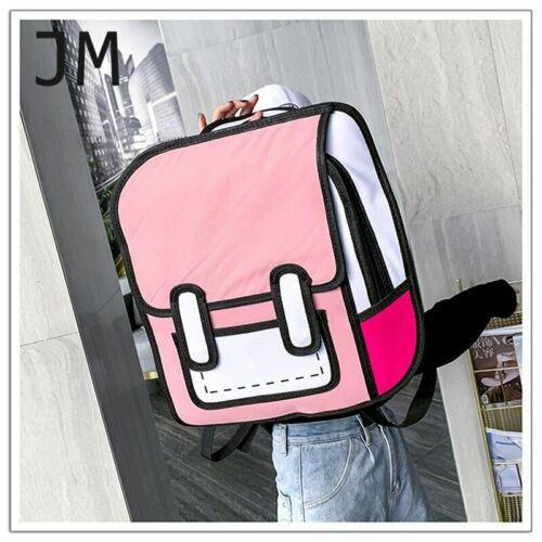 Cartoon Paper Shoulder Bag 3D Jump Style 2D Drawing From Comic Backpack Bookbag