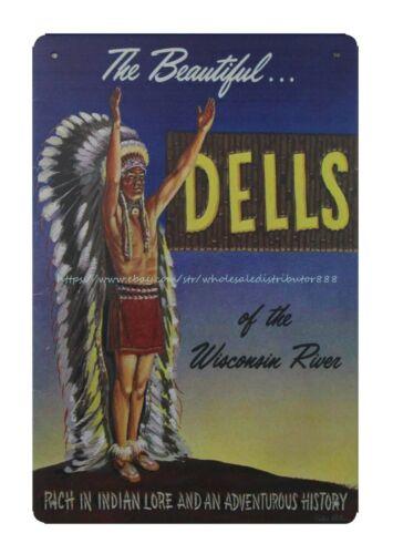 Wisconsin Dells 1950/'s Travel metal tin sign exterior plaques
