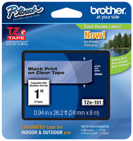 Brother 1 (24mm) Black On Clear P-touch Tape For Pt2410, Pt-2410 Label Maker