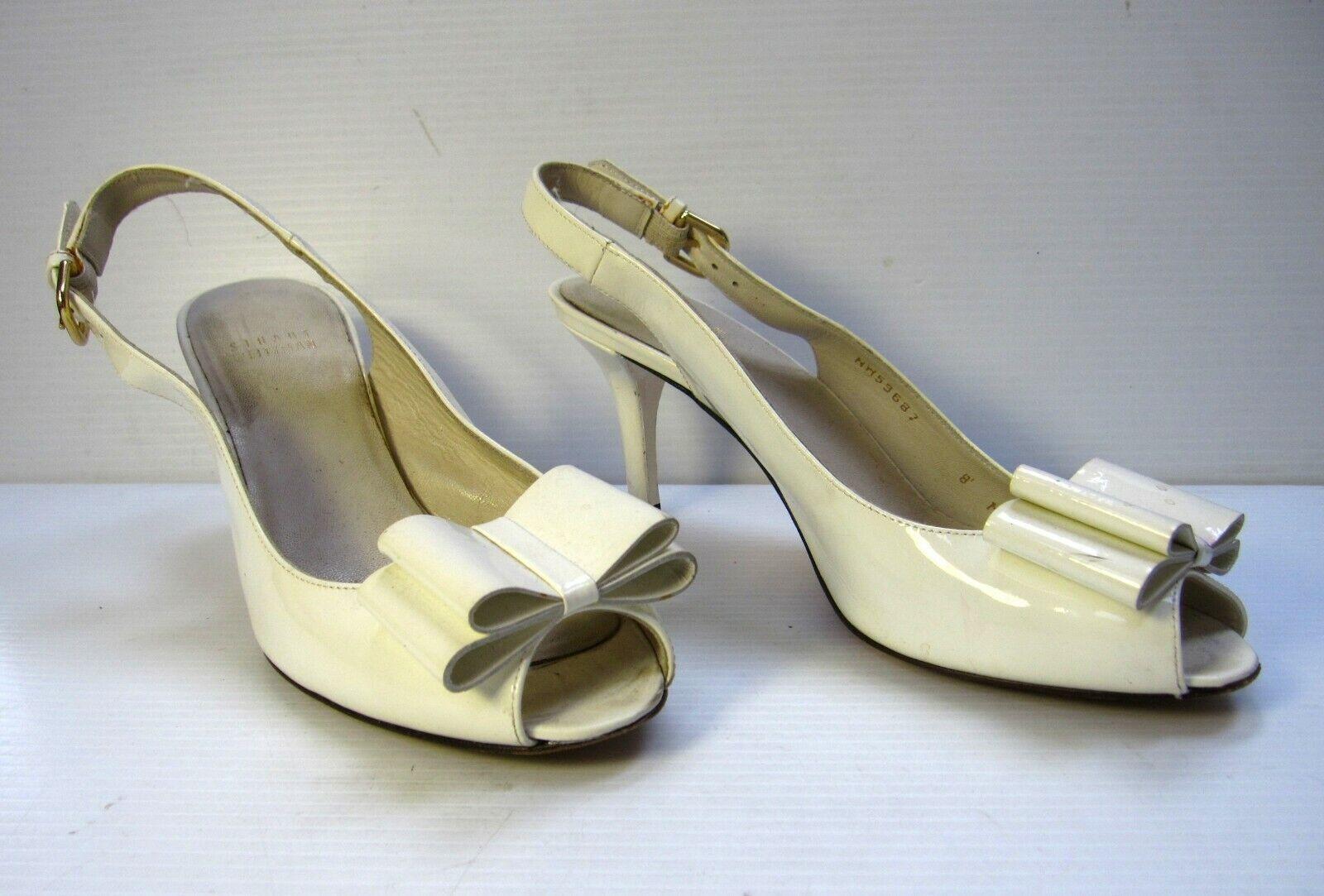 Stuart Weitzman Sling Back Open Toe shoes Size 8M Patent Leather White Bow