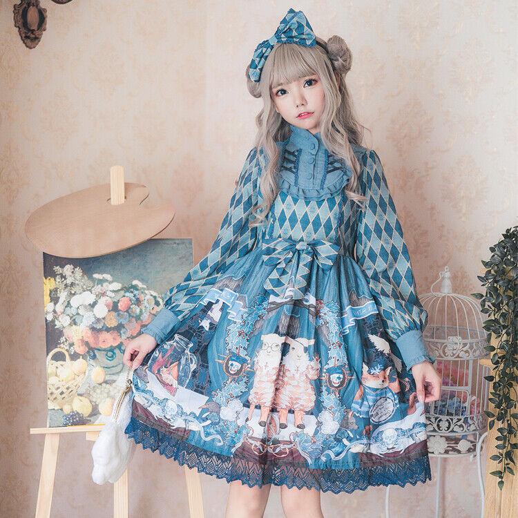 Harajuku Retro Lolita Bow Cute Animal Print OP Long Sleeve Dress Princess Women