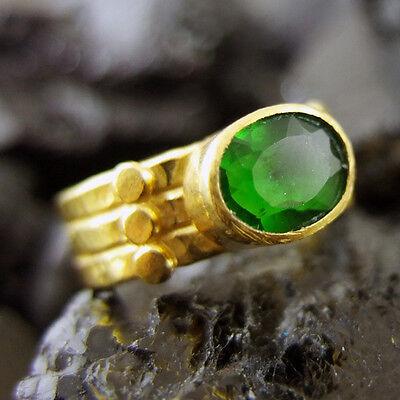 Handmade 7 mm Wide Hammered Designer Emerald Ring 22K Gold over Sterling Silver