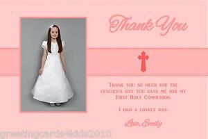 30 Personalised Girls Pink Holy Communion Thank you Cards Ref CT1 With Envelopes