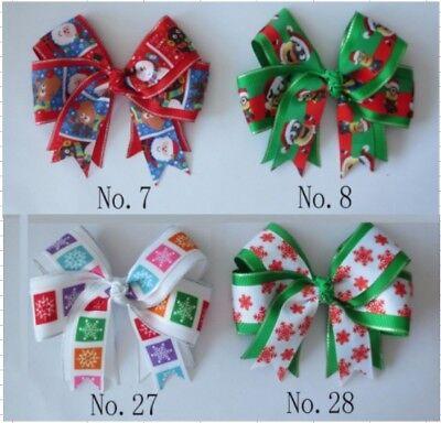 "20 BLESSING Girl 4/"" Two Tone ABC Bow Clip Baby Halloween Snowman Santa Snow"