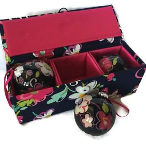 Image Is Loading VERA BRADLEY Ornament Trio In RIBBONS Retired Collectible