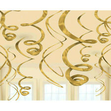 12Foil Swirl Hanging Decorations Baby Shower Birthday Wedding Party Supply Favor
