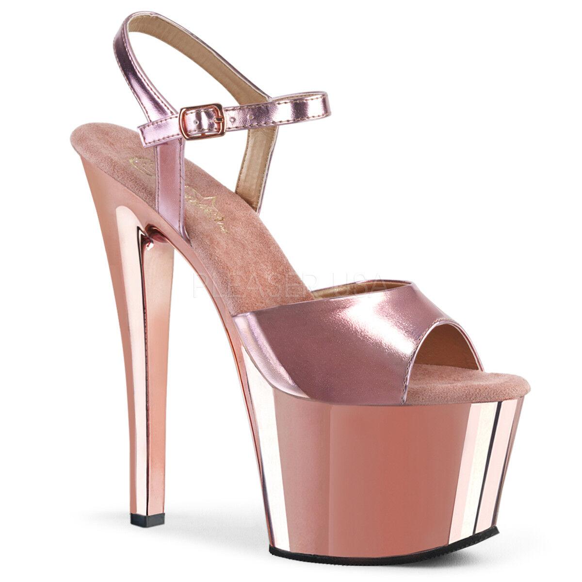 ordina adesso Pleaser SKY-309 Donna    rosa oro Metallic Pu Chrome Platform Ankle Strap Sandal  il prezzo più basso