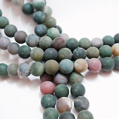 Achat 6mm blau grau rot matt Perlen rund Schmuckperlen Edelstein 1 Strang #2