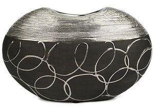 Hochwertige-Blumenvase-Vase-modern-Deko-Dekovase-schwarz-silber-Tischvase-Stil