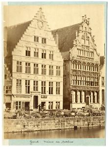 Belgique-Gand-Maisons-des-Bateliers-Vintage-albumen-print-Tirage-albumine