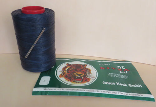 BLUE RITZA TIGRE WAXED HAND SEWING THREAD 0.8mm LEATHER//CANVAS  /& 2 NEEDLES