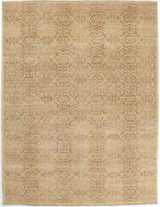 9X12 Hand-Knotted Oushak Carpet Traditional Beige Fine Wool Area Rug D52999