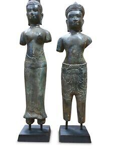 Bronzo Statua Khmer König Paio Cambogia Scultura Metallo Asiatica Asia Antico