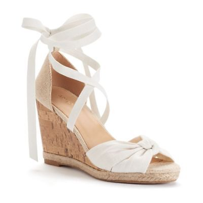 e76df9786 Details about New Apt 9 Cheery White Cream Strappy Espadrille Wedge Cork  Lace Up Heel Sandal