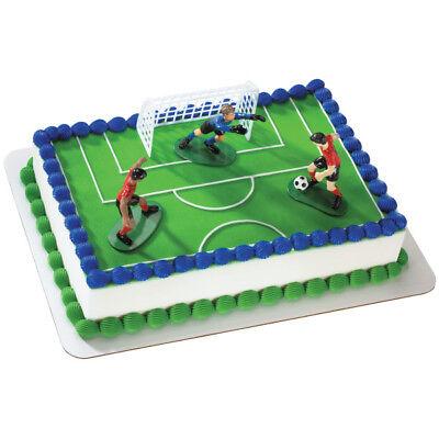 Hockey 4 piece Cake Decoration Kit Party Favors 2 players 1 goal net 1 goalie