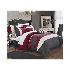 6 Piece Comforter Set Queen Size Bedding Ensemble Chic