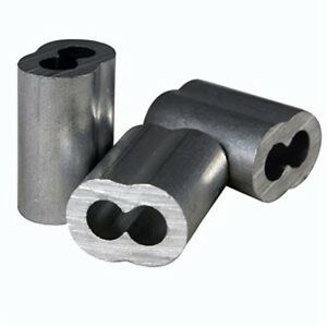 """1000 Aluminum Swage Sleeves for Wire Rope Cable, 1/8"""". Made in USA."""