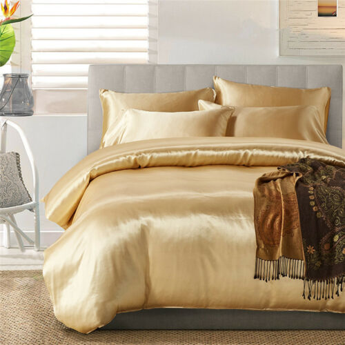 Silk Colorful Duvet Cover Luxurious Satin ComforterBedding Duvet Set King size