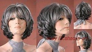 Wigs-Femme-agee-Gris-noir-court-en-bonne-sante-cosplay-de-Perruques