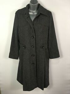 Womens Austin Reed Black White Wool Rich Button Up Fitted Smart Work Coat Uk 14 Ebay