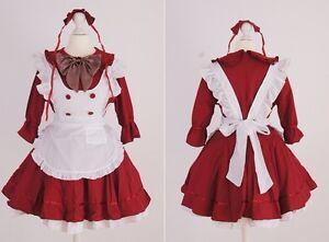 z-07-gr-S-M-talla-unica-Rojo-Grabado-Chica-Servicio-Cosplay-Vestido-Disfraz