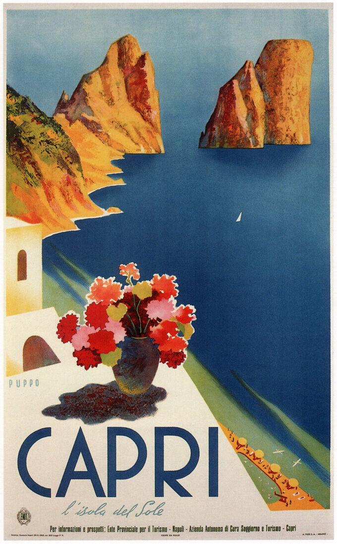 Vintage Travel Art -Capri- - 1952- 24 x36  Art on Canvas