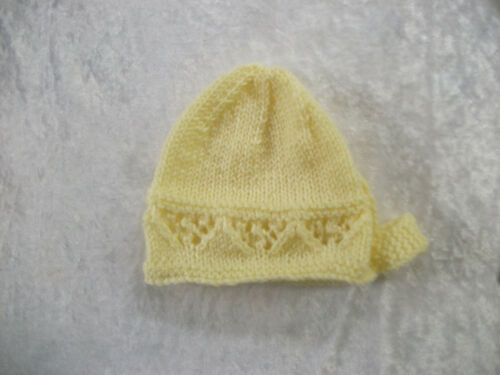 6-9 Months Brand New Hand Knitted Yellow Baby Bonnet 0-3 3-6