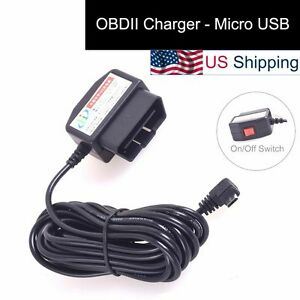 OBDII-Charging-Cable-Micro-USB-Power-Adapter-w-Switch-to-Dash-Cam-DVR-Phone-Tab