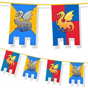 Medieval-Knights-and-Dragons-Party-Decoration-Thrones-6m-Bunting-Wall-Fete-Feast