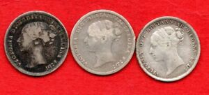 1875 1883 1886  QUEEN VICTORIA YOUNG HEAD SILVER THREEPENCE COINS. 3 X 3d.