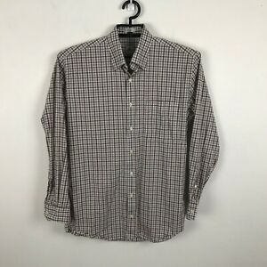 Peter-Millar-Mens-Plaid-Button-Up-Shirt-Long-Sleeves-Brown-Gray-Cotton-Sz-M