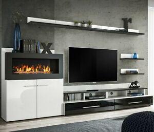 Details zu Wohnwand Camino Wohnzimmer-Set Biokamin Modern Design Anbauwand  Wohnmöbel