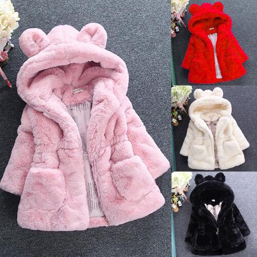 Toddler Kids Girl Cute Faux Fur Fleece Coat Hooded Warm Jacket Parka Outerwear