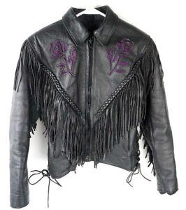 W Xs Fringe Broderier Hudson Flower Jacket Motorcykel Sz Kvinders ZO8PIP