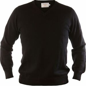 82c7740605da Gents Merino Wool Sweater V-Neck Jumper Plain Black Medium | eBay