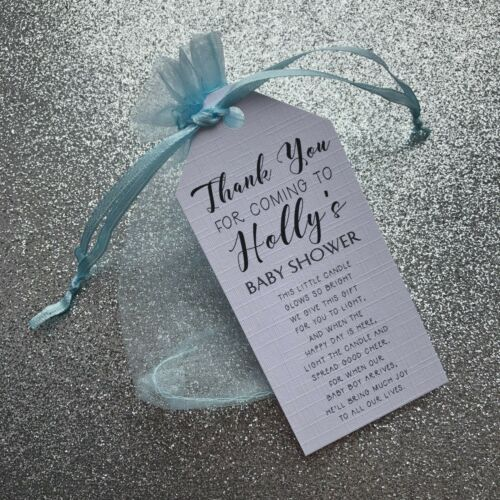 Colour Options Available Personalised Baby Shower Candle Gift Bags and Tags