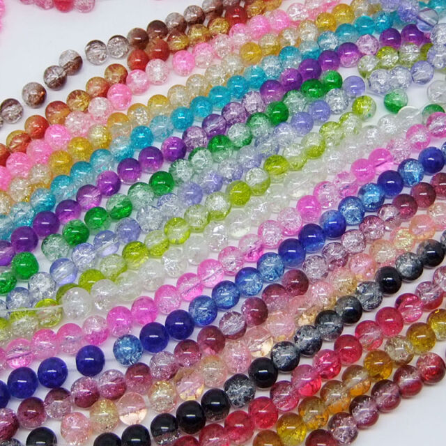 30pcs 8mm Round Crackle Glass Loose Spacer Beads Pick 19 Colors -1 Mixed DIY G11