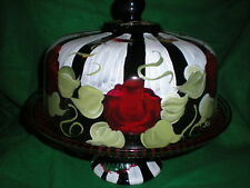 HAND PAINTED BLACK/WH STRIPE W/RED ROSES  CAKE PLATE/PUNCH BOWL(MADE IN THE USA)