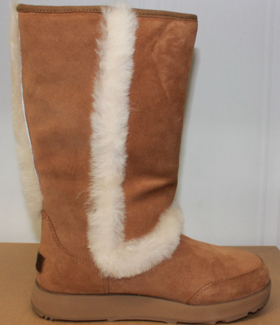 e567bde0546 UGG Sundance Waterproof Chestnut Suede Sheepskin Tall Womens BOOTS Size US 7
