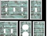 Blue Barn Board Wood Rustic Country Beach Wood 2 Light Switch Cover Plate